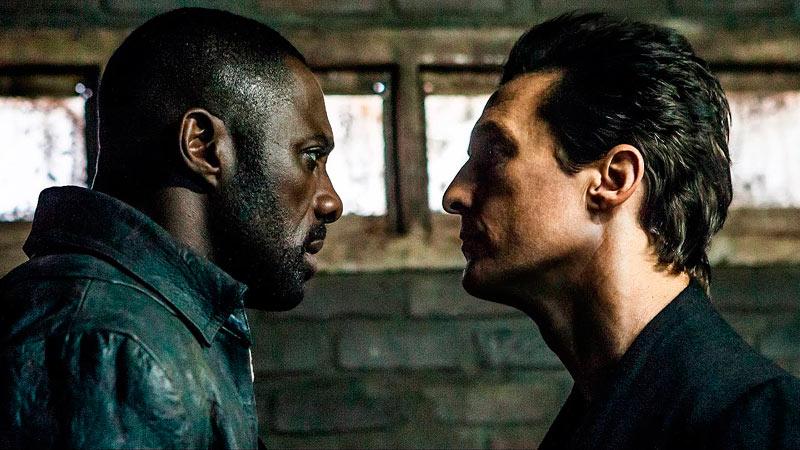 Idris Elba no papel de Roland, o Pistoleiro, e Matthew McConaughey no filme A Torre Negra.